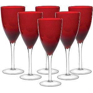 Jogo de Taças 6 pçs Vinho Rouge 500ml Vidro Vermelho - GS