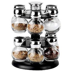 Porta Condimento com Base Giratória com 12 Peças em Vidro