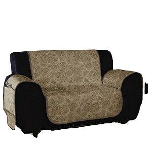 Protetor de sofá 2 lugares matelado Caqui estampado