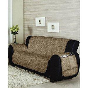 Protetor de sofá 3 lugares matelado Caqui e Chocolate