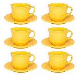 Conjunto de Chá 12 Peças Oxford Floreal Amarelo