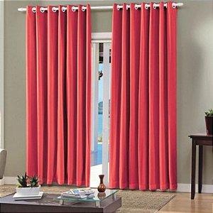 Cortina Vermelha Com Forro Blackout 2,60 x 2,30 Bella Janela