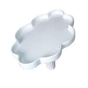 Bandeja Nuvem Branca Cerâmica com Pé 34cm