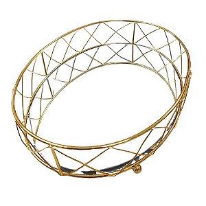 Bandeja Decorativa Oval Com Espelho - P, M, G - Rosê Gold, Dourado