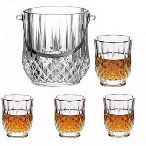 Jogo Balde De Gelo Com 4 Copos Whisky