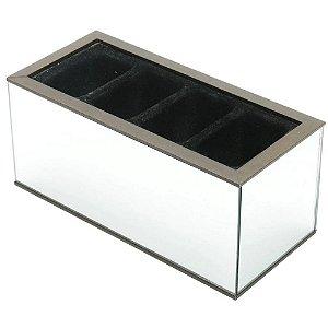 Porta Controle c/Espelho 4 Divisórias 10x22x10 cm – Woodart