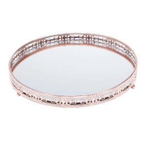 Bandeja redonda bronze de metal com espelho - Cajamar/Rojemac