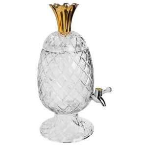 Suqueira Abacaxi de Cristal 3L com Pé - Dourado e Cristal - Wolff