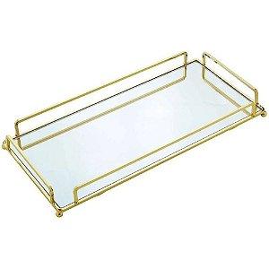 Bandeja Decorativa Metal Dourada Retangular 34x16x4cm