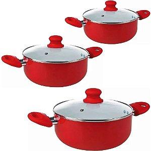 Jogo de Caçarola Revest Cerâmica 3 Peças Premium Vermelha