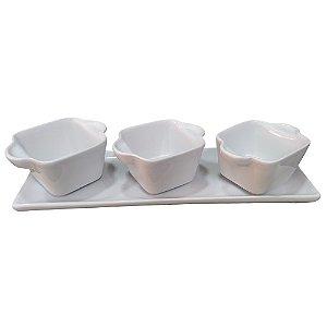 Petisqueira com 04 peças Cerâmica - Branca