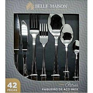 Faqueiro Petros 42 Peças em Aço Inox c/Gift Box Belle Maison