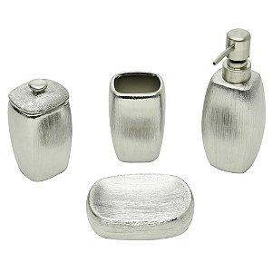 Jogo Para Banheiro de Cerâmica Lux Cooper 04 Peças Prata
