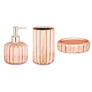 Kit para Banheiro Rose Gold Cerâmica 3 Peças - Mart