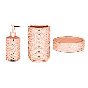 Kit Para Banheiro Rose Gold de Cerâmica 3 Peças - Mart