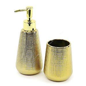 Kit Para Banheiro Dourado de Cerâmica 2 Peças - Mart