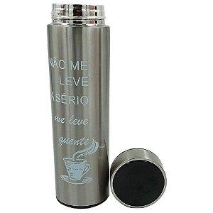 Garrafa Térmica Inox c/Termômetro 470 ml Prata– Golden Rio