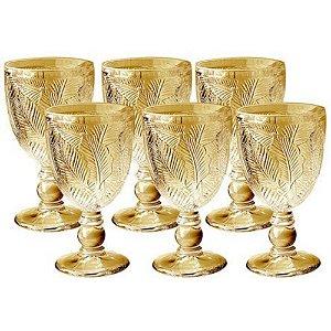 Jogo de 6 Taças de Vidro Folhagem Âmbar 250ml -  L'hermitage