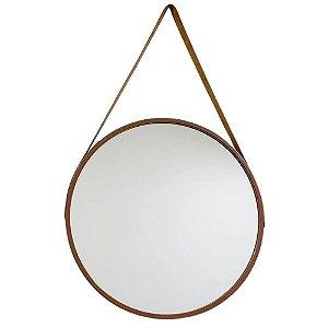 Espelho Redondo Decorativo Marrom com Alça 45cm – FWB