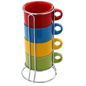 Jogo de 4 Xícaras para Chá Colors com Suporte - Bon Gourmet