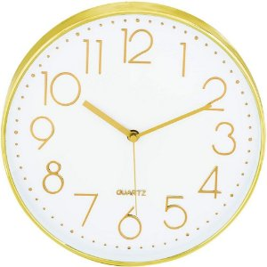 Relógio de Parede Dourado e Branco 30 cm – INTERPONTE