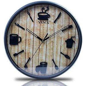 Relógio de Parede de Café Marrom e Preto 30 cm – IMPORIENTE