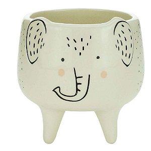 Cachepot Decorativo em Cerâmica Branco Elefante 11cm