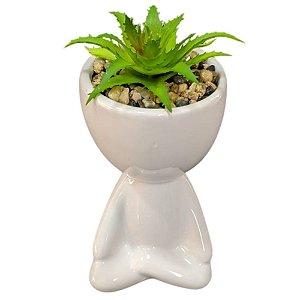 Vaso Decorativo Cerâmica Robert Plant Bob Branco 11cm - FWB