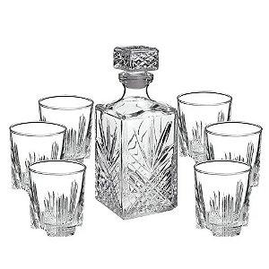 Jogo de Garrafa com 6 Copos Vidro para Whisky – DayHome