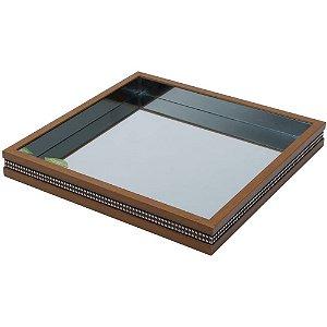 Bandeja Espelhada de Madeira Woodart Strass 36 cm - Rojemac