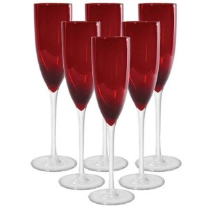 Jogo de 6 Taças p/Champagne em Vidro Vermelho 230ml