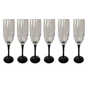 Jogo de 6 Taças p/Champagne  em Vidro Preta 220ml - Yazi
