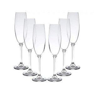 Jogo de 6 Taças em Vidro p/Champagne Calibri 220ml - Rojemac