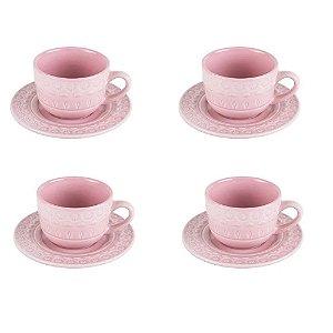 Jogo de 4 Xícaras p/Café em Porcelana 80ml Tiles Blush - Wolff