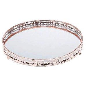 Bandeja bronze em metal com espelho 25 cm - Cajamar