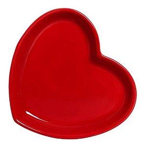 Prato Coração em Cerâmica 16x18 cm Vermelho – Silveira