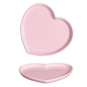 Prato Coração em Cerâmica 16x18 cm Rosa – Silveira