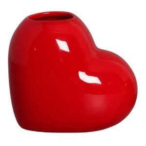Vaso Decorativo de Coração em Cerâmica 16cm Vermelho