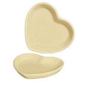 Prato Coração em Cerâmica 11x13 cm Creme – Silveira