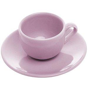 Jogo de 6 Xícaras em Porcelana para Chá c/Pires 275ml Lilás