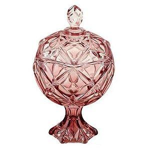 Bomboniere 20 cm Rosa em Cristal com Pé - FULL FIT