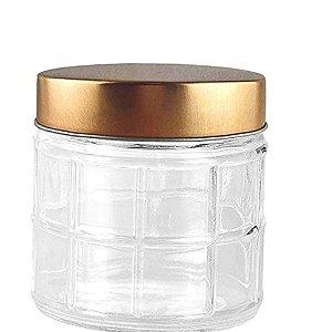 Porta mantimento redondo 880 ML em vidro com tampa cor cobre