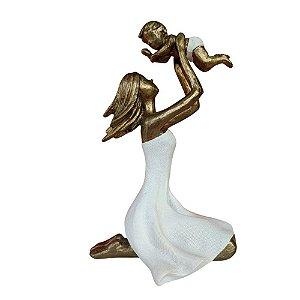 Escultura Mãe e Filho em Resina 19cm - Mabruk