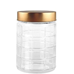 Porta mantimento redondo 1,7 ML em vidro com tampa cor cobre