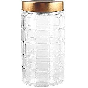 Porta mantimento redondo 2,2 ML em vidro com tampa cor cobre