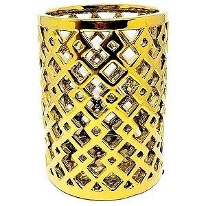 Vaso Decorativo Vazado em Cerâmica 20cm Dourado – Mabruk