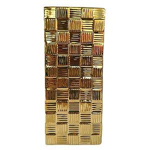 Vaso Decorativo Quadrado em Cerâmica 30cm Dourado – Mabruk