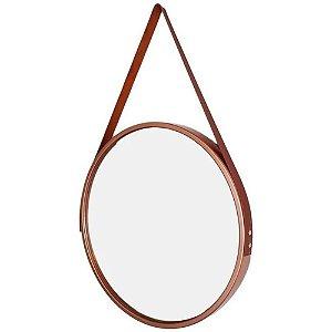 Espelho Redondo Decorativo Rose com Alça Marrom 33cm - FWB