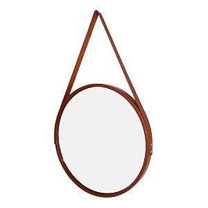 Espelho Redondo Decorativo Marrom com Alça Marrom 60cm - FWB