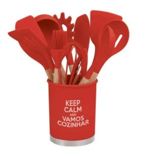 Kit Silicone com Cabo em Madeira 12 peças Vermelho- Amigold
